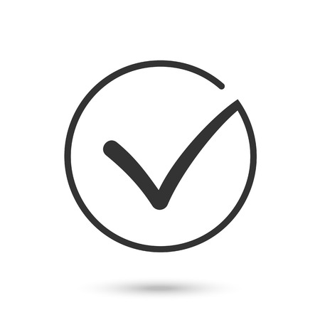 confirmacion: Diferente cheque marca vector blanco y negro o garrapatas en el círculo conceptual de la aceptación de confirmación del acuerdo de votación aprobado positivo verdadero o la finalización de la tarea en una lista. Piso ilustración EPS10
