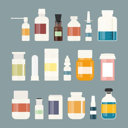 medicine icons: Medicine colorful bottles collection. Bottles for drugs, tablets, capsules and sprays. Hospital equipment. Vector illustration on gray background Illustration
