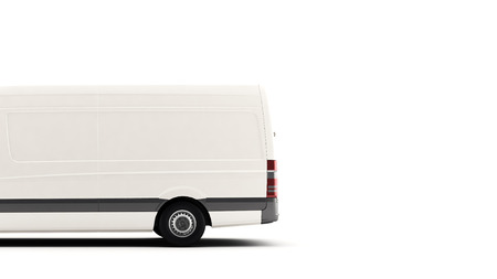 commercial van: Industrial van on a white background, for advertisement text copy space