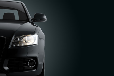New CG 3D-Darstellung von generischen Luxus Detail schwarzen Sportwagen Fahr Illustration render auf einem dunklen Hintergrund. Mockup mit stilisierten Rauscheffekte Standard-Bild