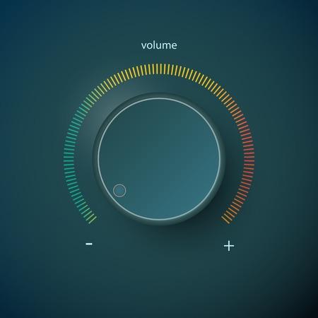 silencio: Realista vaso panel de control de metal. Música audio volumen del sonido botón de mando de nivel máximo y mínimo. Gire el sintonizador de interfaz estéreo interruptor. Diseño elemento de ilustración