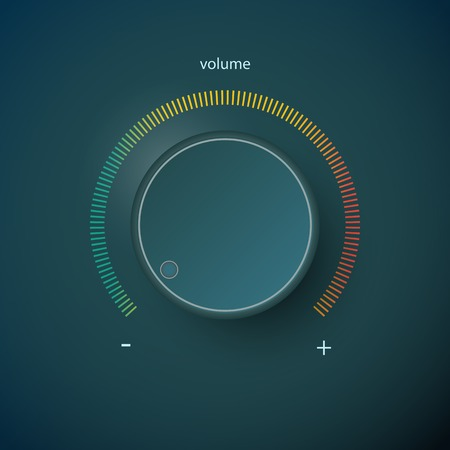 volume knob: Realistic metal control panel tumbler. Music audio sound volume knob button minimum maximum level. Rotate switch interface stereo tuner. Design element illustration