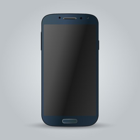 computer screen: Realistic black mobile phone with blank screen isolated. Modern concept smartphone devices with digital display. illustration