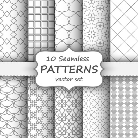 gray cards: 10 Seamless geometric patterns set. Grey and white texture for your design Illustration