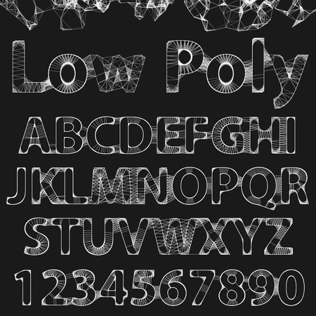 alphabetic: Lowpoly outline fonts and numbers. Elegance typographic alphabet. Digital art white alphabetic line with dot in.
