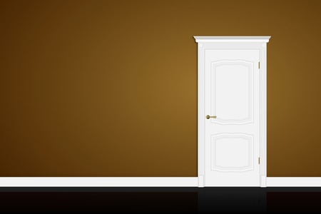 white door: Closed white door on brown wall background.