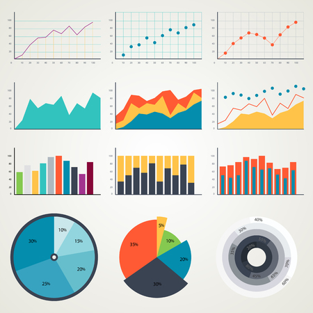 Set of elements for infographics, charts, graphs and diagrams. In color illustration
