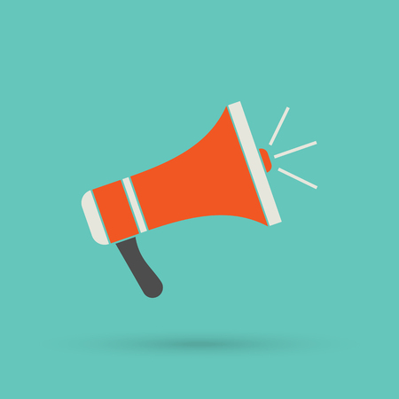 loud speaker: Flat red loudspeaker icon. Illustration megaphone for web