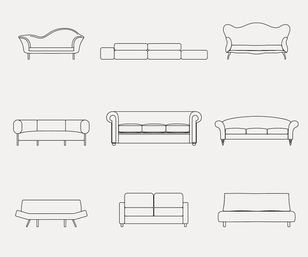 couches: Modern luxury sofas and couches furniture icons set for living room illustration Stock Photo