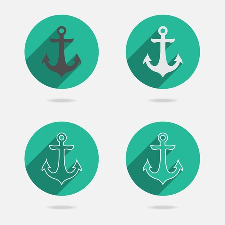 shipbuilder: Nautical white metal flat icon anchor illustration with long shadow isolated on white background. Retro button with anchors silhouette. Web page element