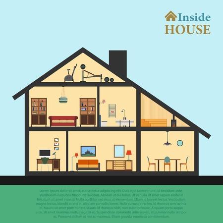 中の家。カットの詳細な現代住宅インテリア。フラット スタイル ベクトル図 eps10。客室の家具とオブジェクト。