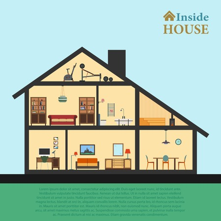 House inside. Detailed modern house interior in cut. Flat style vector illustration eps10. Rooms with furniture and object.