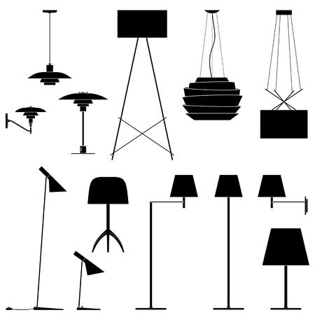 異なったランプのセットです。フロアランプ、テーブル ランプ、壁取り付け用燭台の黒いシルエットは。ベクトル図 EPS10
