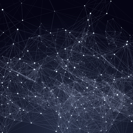 network: Abstract triangles space low poly. Dark background with connecting dots and lines. Light connection structure. Polygonal vector background. Futuristic HUD.