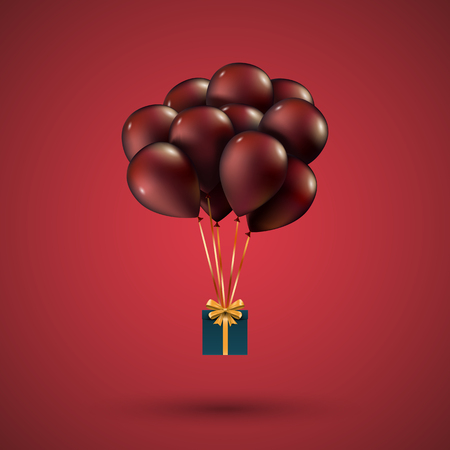 depicted: Red balloons raised a gift box. Depicted on red background.