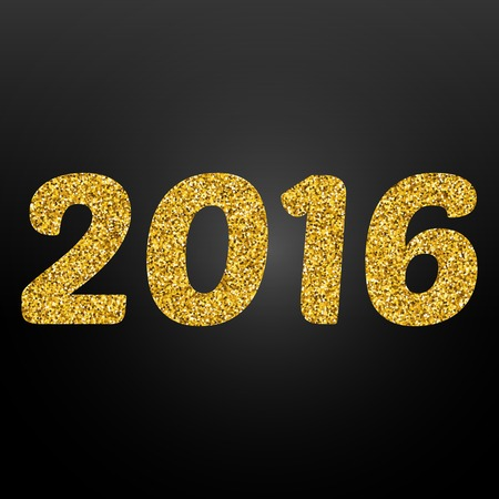 disco lights: Happy New Year 2016 gold disco lights frame. Vector illustration eps10