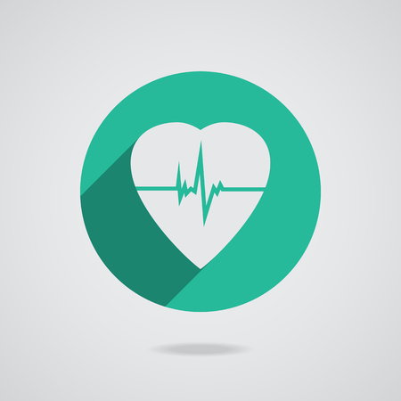 defibrillator: Defibrillator white heart icon isolated on teal background illustration Stock Photo