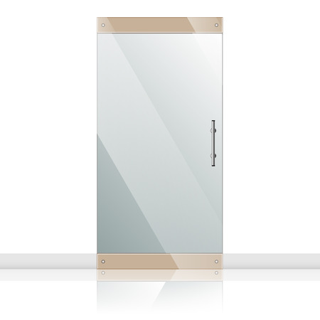 forepart: Transparent glass door in steel frame isolated on white wall. Architectural interior symbol.