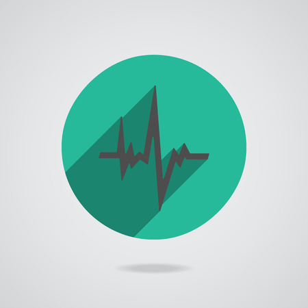 electrocardiograph: Pulse heart rate black icon in flat style with long shadow. Green button on white background.