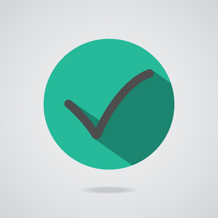 Different black check mark or tick in circle conceptual of confirmation acceptance positive passed voting agreement true or completion of task on a list. Flat illustration