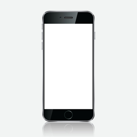touchphone: Realistic black mobile phone with blank screen isolated on white background. Modern concept smartphone device with digital display. Illustration mockup