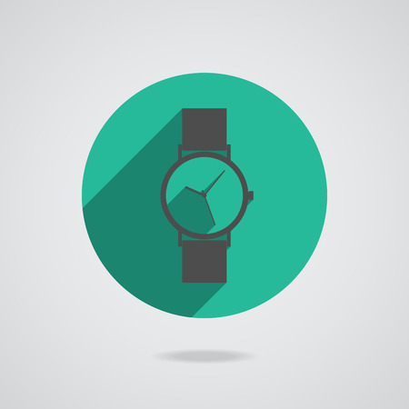 wristwatch: Flat long shadow icon wristwatch for web.