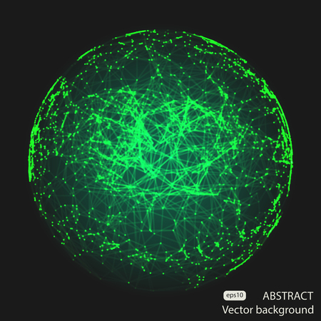 debris: Abstract vector mesh spheres. Futuristic technology low poly style. Elegant dots background for business presentations. Flying debris lines. Illustration eps10 Illustration