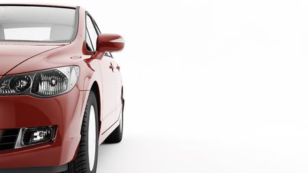 Nieuwe CG 3d geef van generische luxe detail rode sportwagen rijden illustratie geïsoleerd op een witte achtergrond. Mockup met gestileerde geluidshinder
