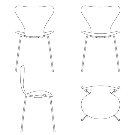 padded stool: Set of shape outline silhouettes. Modern designs. High detail.