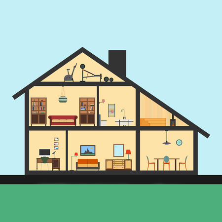 inside house: House inside. Detailed modern house interior in cut. Flat style illustration. Rooms with furniture and object. Stock Photo