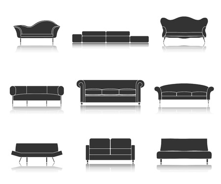 couches: Modern luxury black sofas and couches furniture icons set for living room illustration