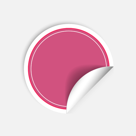 curled: Pink round stickers with curled edge isolated on white background