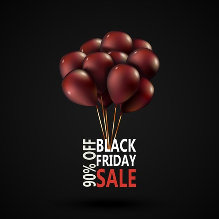 red balloons: Black Friday sale inscription photorealistic design template. Advertising banner with red balloons and place for text. Vector illustration EPS10