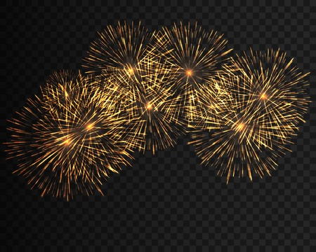 Collection festive fireworks of yellow colors arranged on a black background. Isolated outbreaks transparent to paste. Sparkling abstract shapes. Vector illustration EPS10