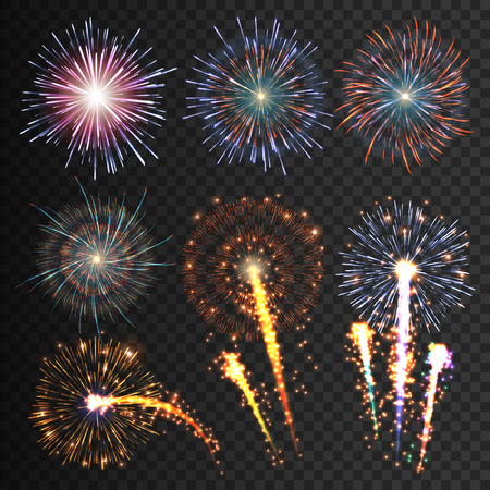 Collection festive fireworks of various colors arranged on a black background. Isolated outbreaks transparent to paste. Set of sparkling abstract shapes. Vector illustration EPS10