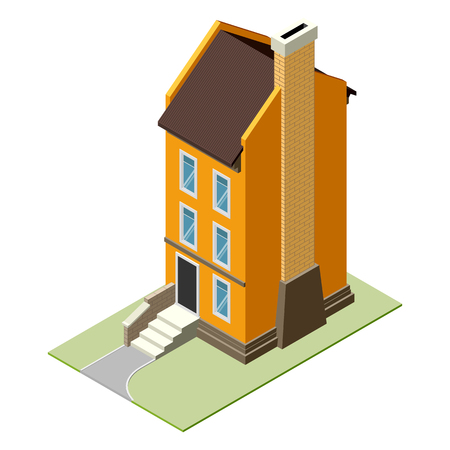 english village: Isolated vector isomatic small house icon with backyard.