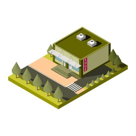 irish cities: Vector isolated isometric shop building icon. EPS10 Illustration