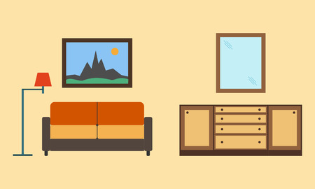 living room furniture: Living room with furniture minimalism. Flat style illustration.