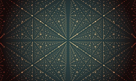 depth: Digital perspective grid with glowing stars. Futuristic infinity illusion of depth. Abstract background