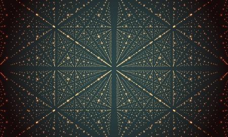tiefe: Digitale Perspektivraster mit leuchtenden Sternen. Futuristisch Unendlichkeit Illusion von Tiefe. Zusammenfassung Hintergrund Lizenzfreie Bilder