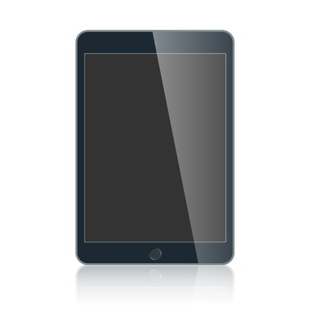 palmtop: Realistic black touchpad with blank screen isolated on white background. Graphic illustration