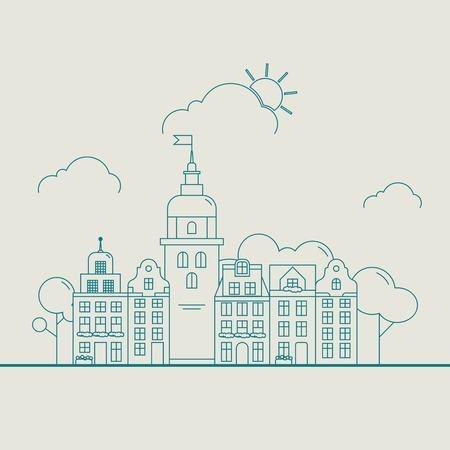 townhouses: Little detailed linear cityscape with various row townhouses, beautiful town street with building facades thin line trendy illustration. Ideal for graphic, web and motion design