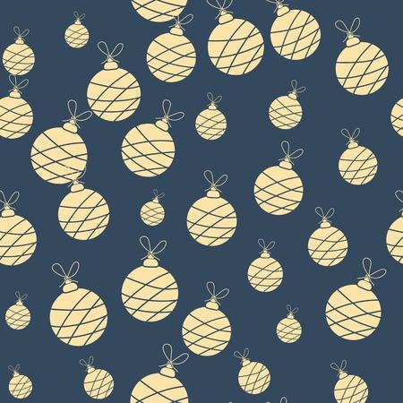 christmas garland: Seamless christmas garland pattern on blue background. Vector