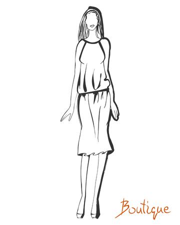 Stylized ink fashion model figure sketch.