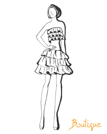 supermodel: Stylized ink fashion model figure sketch.
