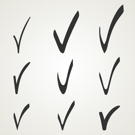 Different checkmark symbol. Black confirm icons set.
