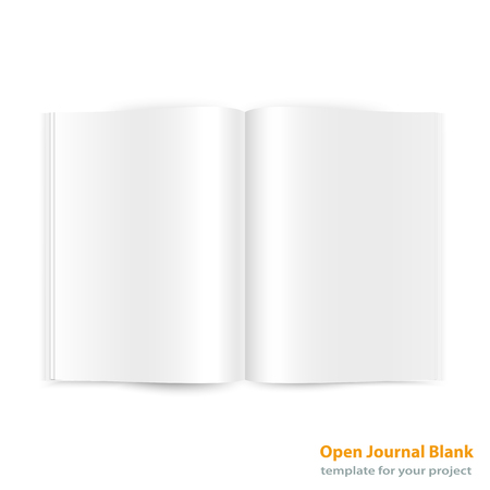 closed ribbon: Open magazine double page spread with blank pages on white background.