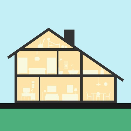 inside house: House inside. Detailed modern house interior in cut. Flat style Graphic illustration. Rooms with furniture and object.