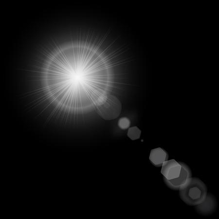 camera lens: Summer sun with realistic lens flare lights and glow on black background. Graphic illustration Stock Photo