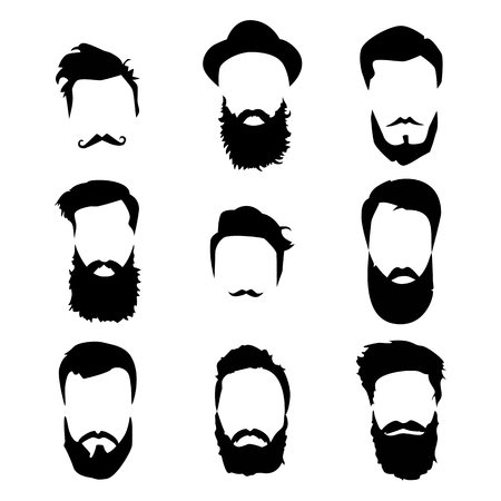 hair style collection: Hipster detailed hair and beards set. Fashion bearded man. Long beard with facial hair. Beard isolated on white background. Vector illustration EPS10